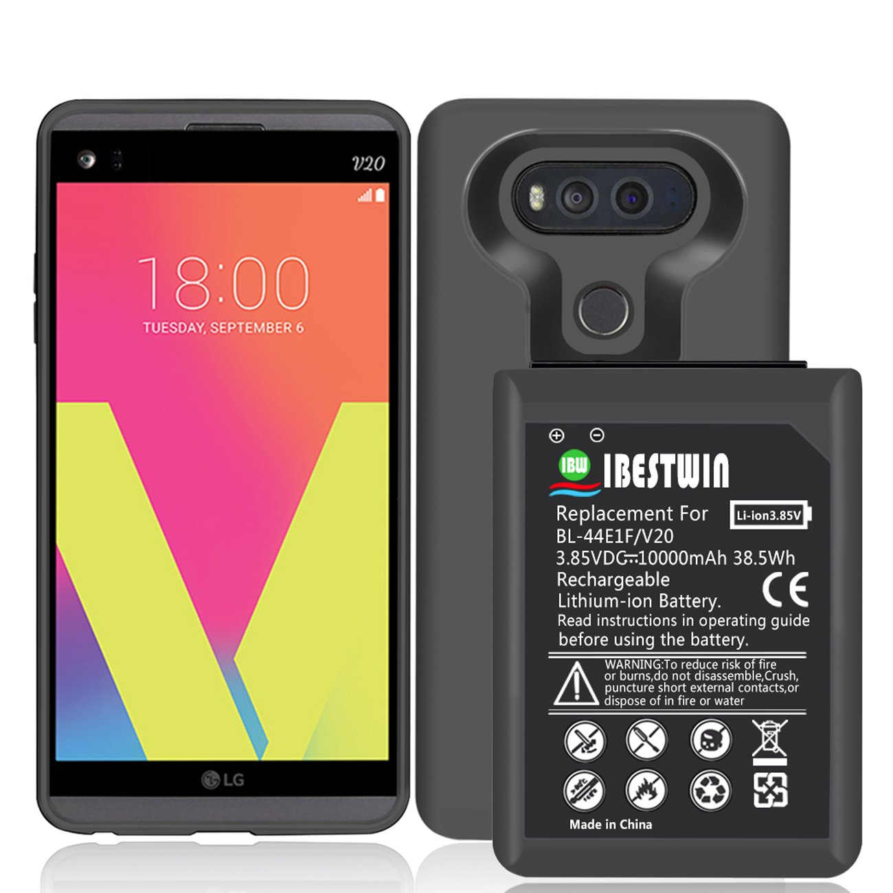 IBESTWIN 10000mAh High Capacity Replacement Battery for LG V20 BL-44E1F H918 H910 US996 LS997 VS995 with Soft TPU Protective Case by IBESTWIN