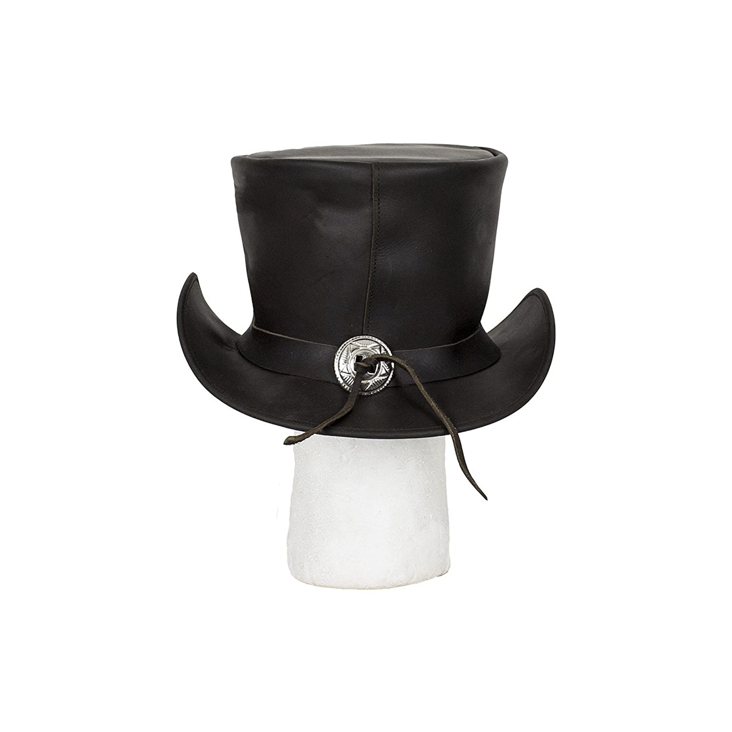 Black Naked Leather Deadman Top Hat with Chrome Chain