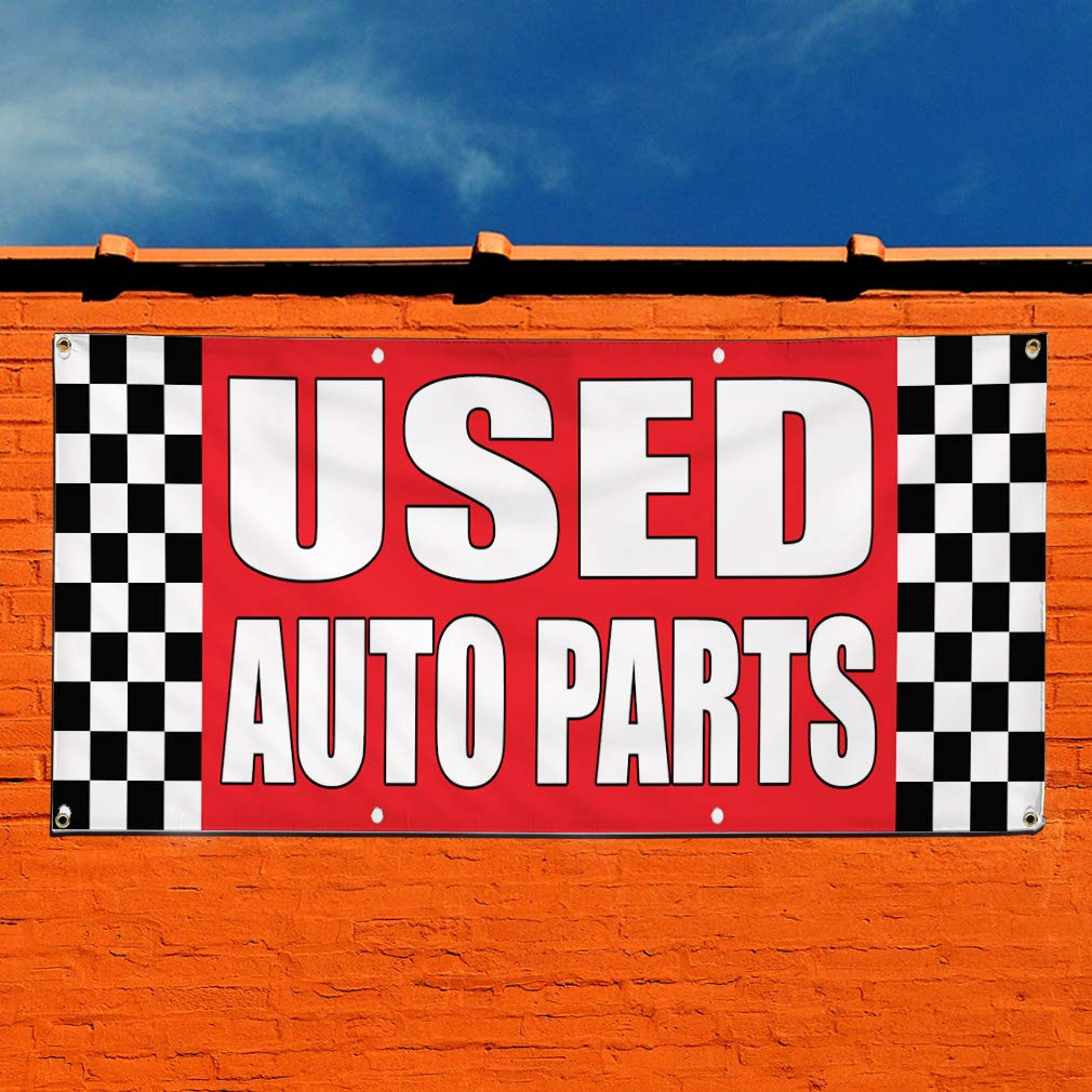 Multiple Sizes Available 6 Grommets 32inx80in Set of 2 Vinyl Banner Sign Used Auto Parts Auto Body Shop Car Repair Marketing Advertising Red
