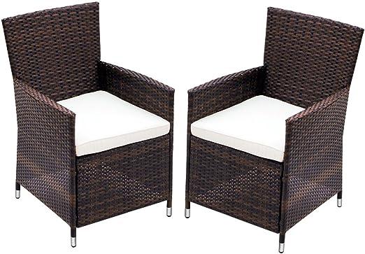 Miadomodo – Juego de 2 sillones de jardín de poliratán - Color a Elegir: Amazon.es: Jardín