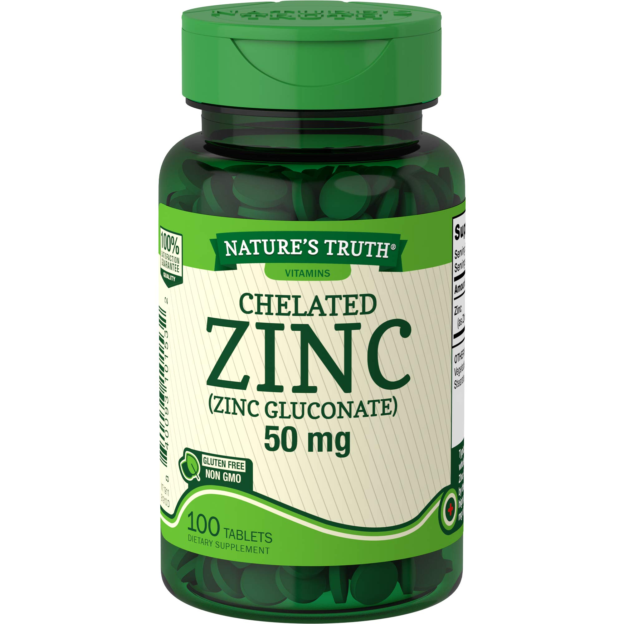 Nature's Truth Chelated Zinc 50mg   100 Tablets   Essential Mineral Supplement   from Zinc Gluconate   Vegetarian, Non-GMO, Gluten Free