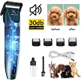 EDUPLINK Dog Clippers Dog Shaver Low Noise 30 Decibels Pet Clippers Rechargeable Dog Trimmer Cordless Pet Grooming Tool Pet Hair Clippers Pet Grooming Kit Professional