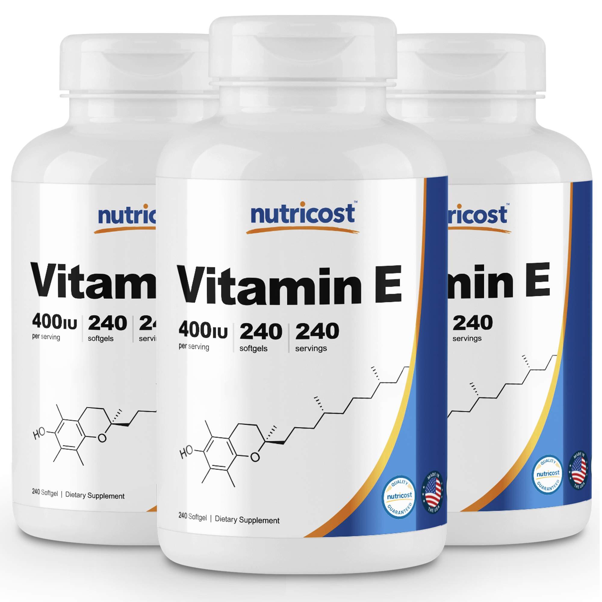 Nutricost Vitamin E 400 IU, 240 Softgel Capsules (3 Bottles)
