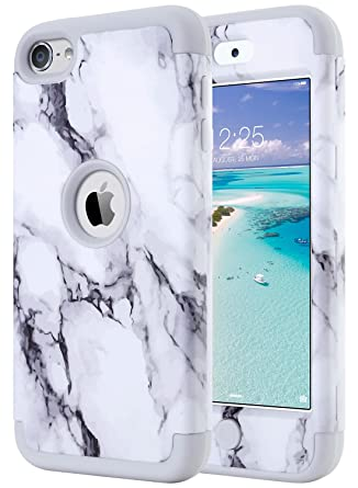 ULAK iPod Touch 7 Case Marble, iPod Touch 6 Case, Heavy Duty High Impact Hard PC Back Cover with Shockproof Soft Silicone Interior for Apple iPod ...