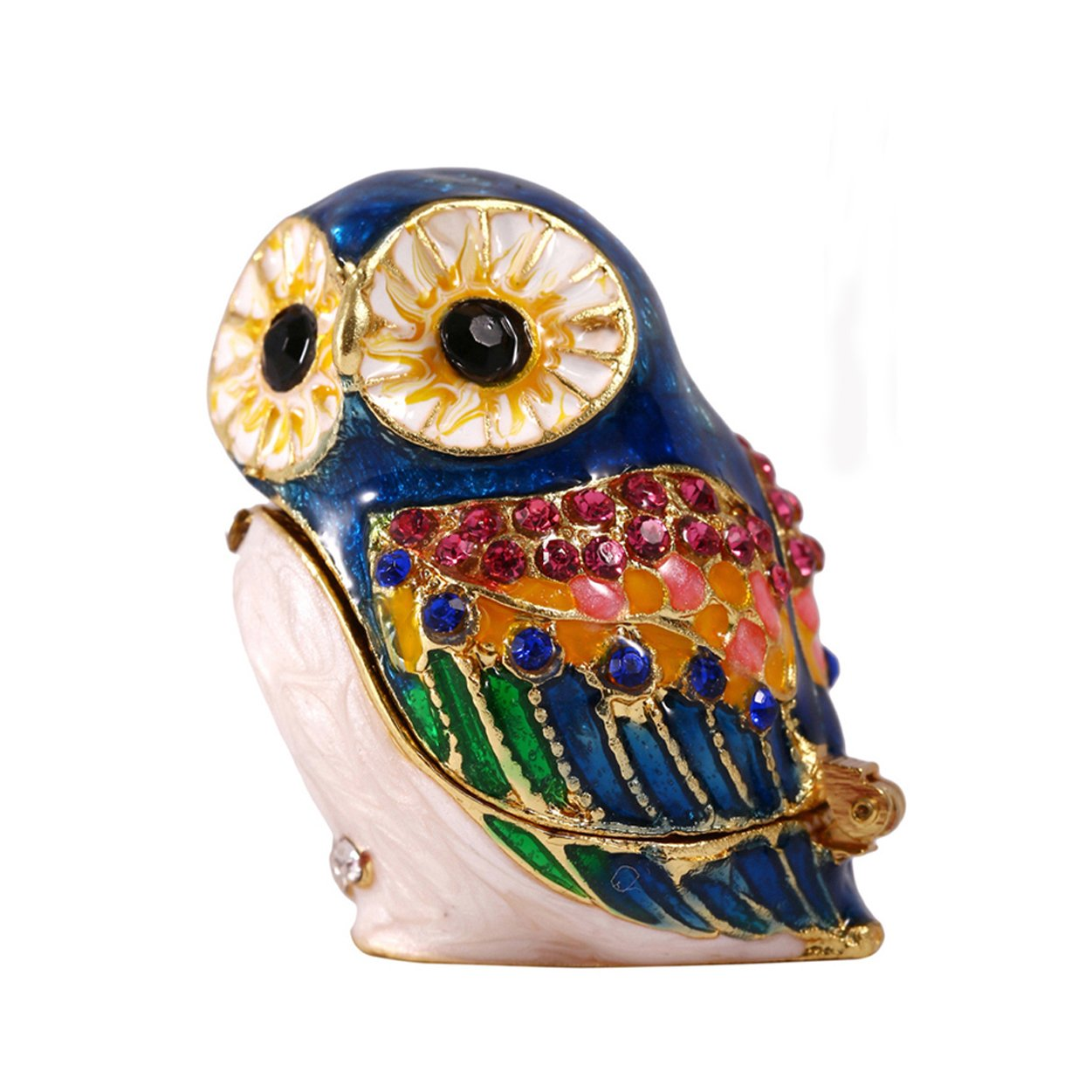Waltz& F Hand Painted Owl Jewelry Box Ornaments ltd
