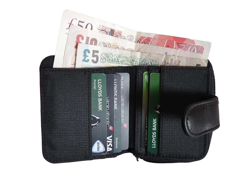 Cartera de Cuero Pequeña con BLOQUEO RFID para Mujer - Billetera con Monedero Negra - 3 Secciones Para Monedas y 6 Ranuras Para Tarjetas - Ventana de ID de ...