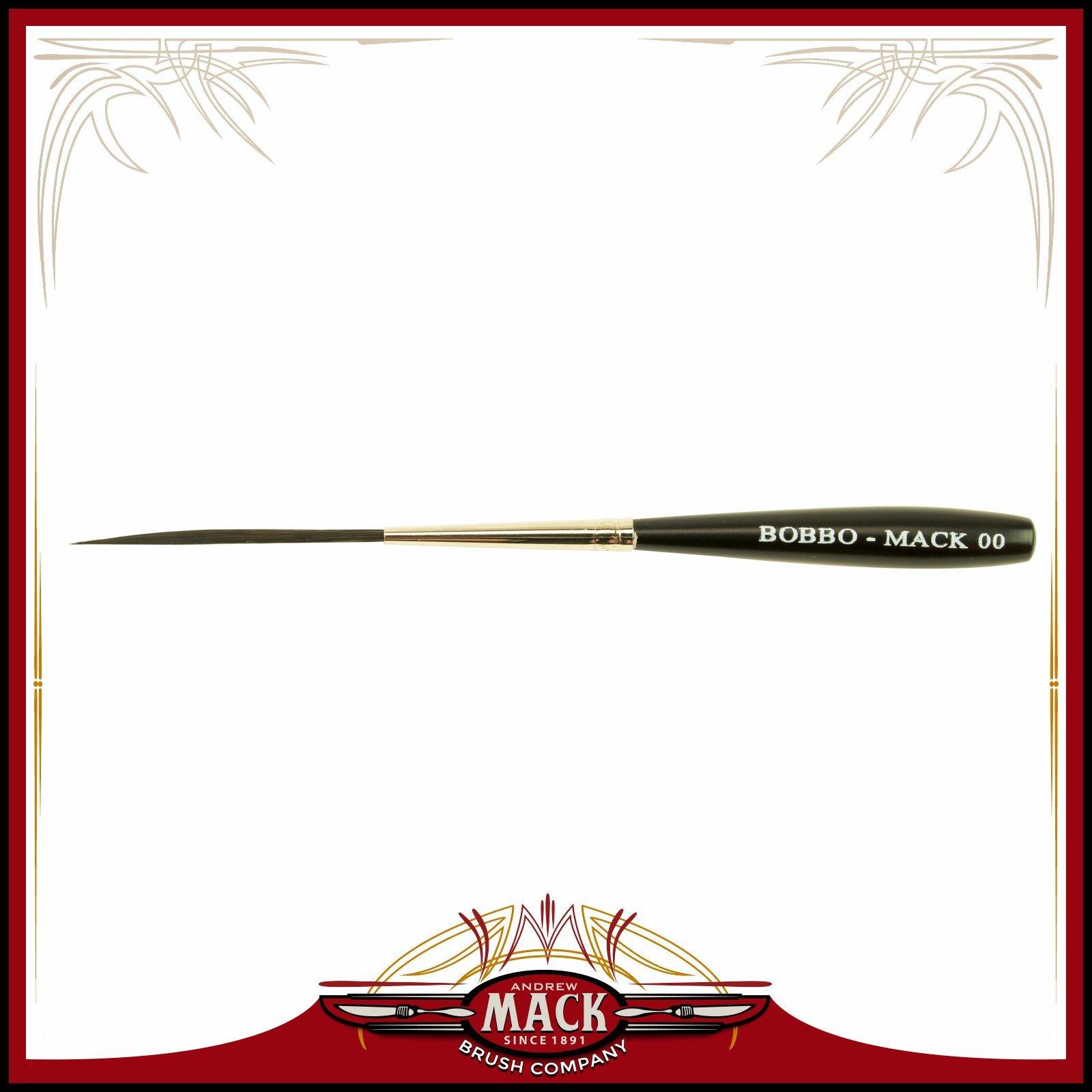 Size 00 Series Bobbo-Mack Super Quad 4 Action Scroll Pinstriper Brush Blue Squirrel & Black Synthetic Hair