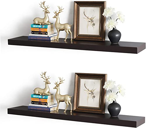 WELLAND New Chicago Floating Shelves Set of 2, 2 Thickness 9.25 Depth Floating Wall Shelves Ledge Shelves, 48-inch, Espresso