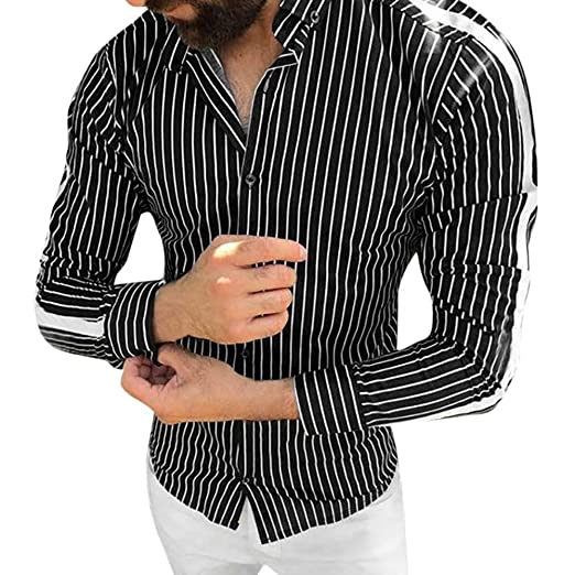 2176c1f346a Sagton Winter Men Stripe Button Roll Collar Long Sleeve Shirt Blouse Top  (L2