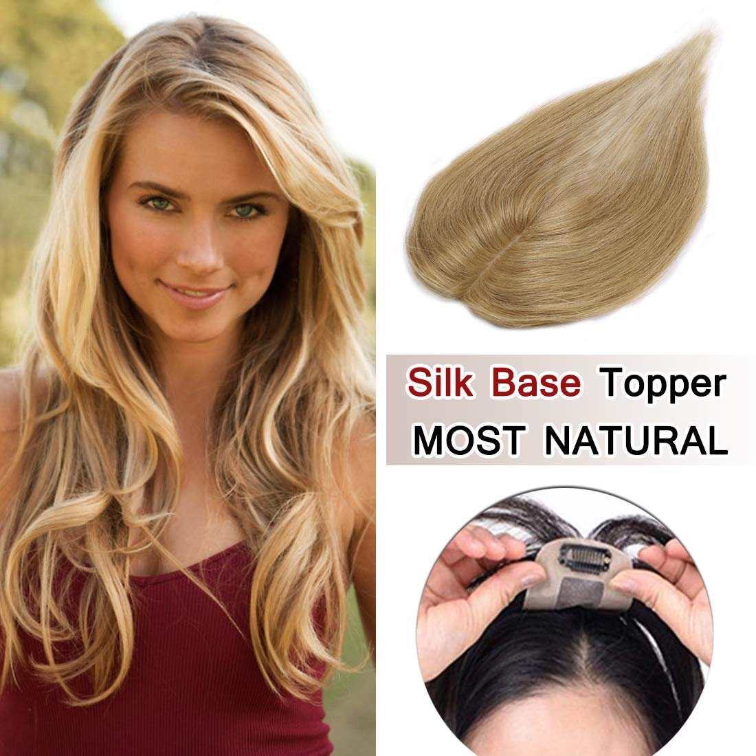 100% Density Top Hair Pieces Silk Base Crown Topper Human Hair Clip in Hair Toppers Top Hairpieces for Women with Thinning Hair Gray Hair/Hair Loss #27 Dark Blonde 14 inches 23g
