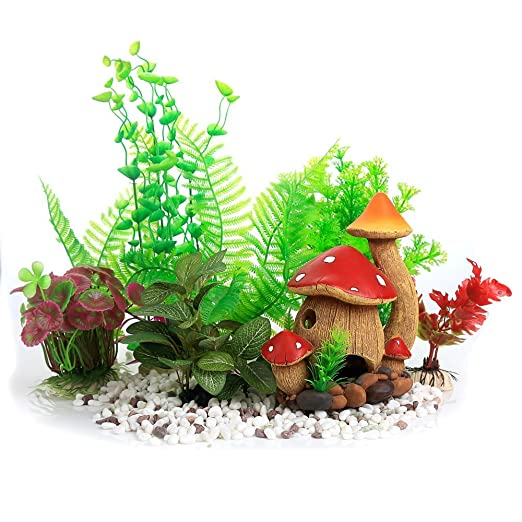 zuiniubi aquarium decorations fish tank silk plastic plants artificial underwater plants 5pcs - Christmas Aquarium Decorations