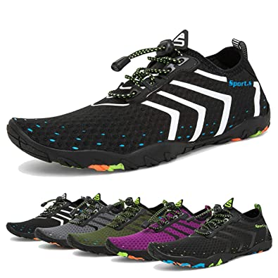 a50b447562422 Water Shoes Mens Womens Beach Swim Shoes Quick-Dry Aqua Socks Pool Shoes  for Surf Yoga Water Aerobics