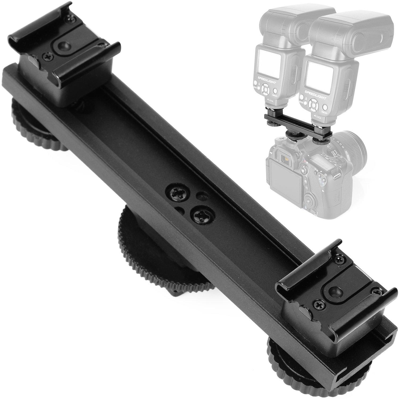 ChromLives Hot Shoe Extension Bar Mount Straight Dual Flash Bracket for Nikon Canon Sony Olympus DSLR Camera Camcorder DV Flash