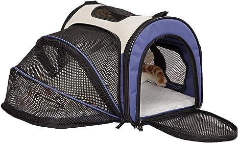 GLEYDY Portátil Tela Oxford Transpirable Mascota Plegable Transportín Bolso de Mano Gato para Coche Portador Perro Elegante para avión Bolso de Viaje para Mascotas con Estera y Lados Suaves: Amazon.es: Deportes y
