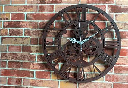 Reloj de Pared 3D Reloj antiguo europeo del anillo del engranaje Reloj retro de la pared