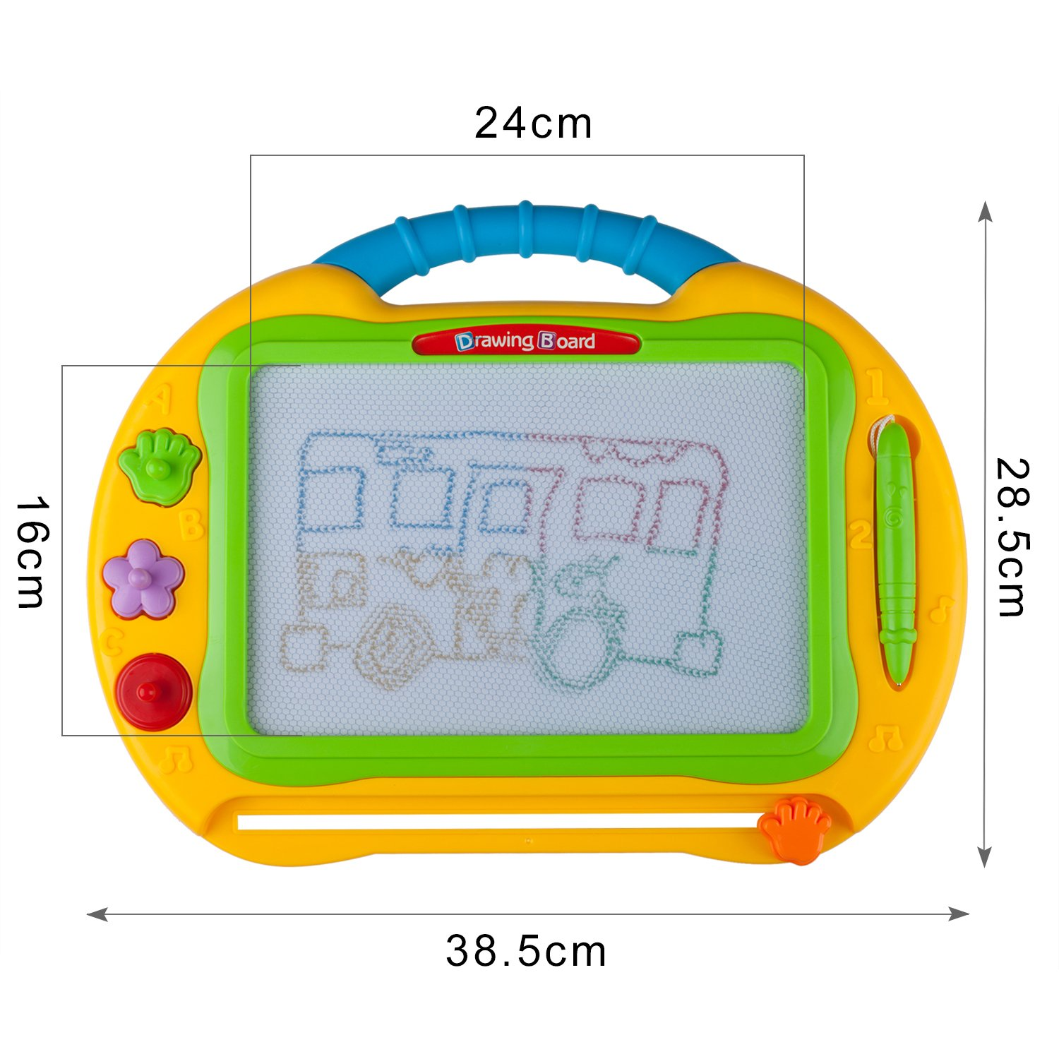 ikidsislands IKS99Y [Travel Size] Color Magnetic Drawing Board for Kids & Toddlers - Non Toxic Large Magna Sketch Doodle Educational Toy for Boys, with 1 Pen & 2 Stamps (Yellow) by ikidsislands (Image #4)