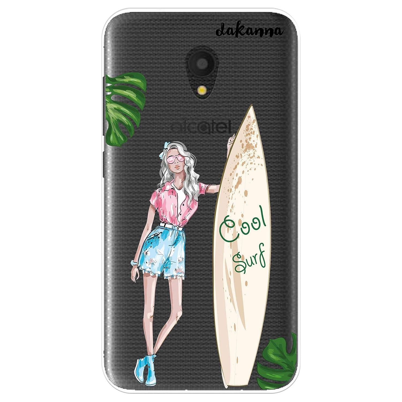 dakanna Funda Alcatel U5 3G - U5 Plus | Chica y Tabla de Surf | Carcasa de Gel Silicona Flexible | Fondo Transparente: Amazon.es: Electrónica