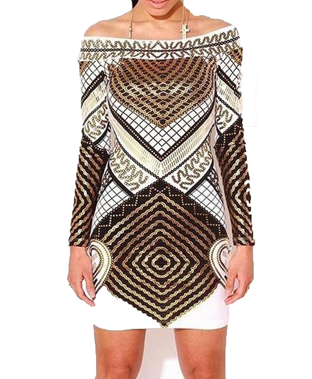 XQS Women Word Shoulder 3D Printed Fashion Package Hip Dress