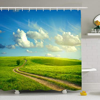 2dca92a9ed60f Ahawoso Shower Curtain 60x72 Inches Flowers Blue Sky Summer Green Grass  Road Dirt Clouds Nature Sunset