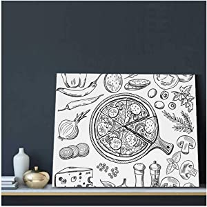 Illustrations of Classical Italian Cuisine.Pizza and Different Ingredients.Fast Food Pictures Set - Italy,Canvas Wall Art Metal Wall Art Painting Artwork for Home Decoration Pizza 12x16inch(HxW)