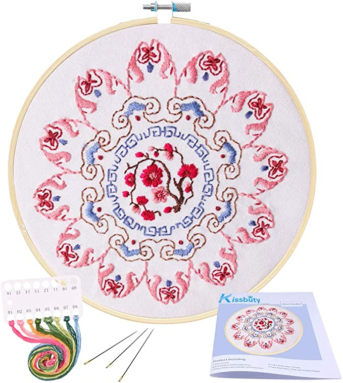 puseky 2 Set of Embroidery Starter Kit Cross Stitch Kit for Beginners Floral Pattern Embroidery Cloth Bamboo Hook and Tools DIY Gift Home Decor