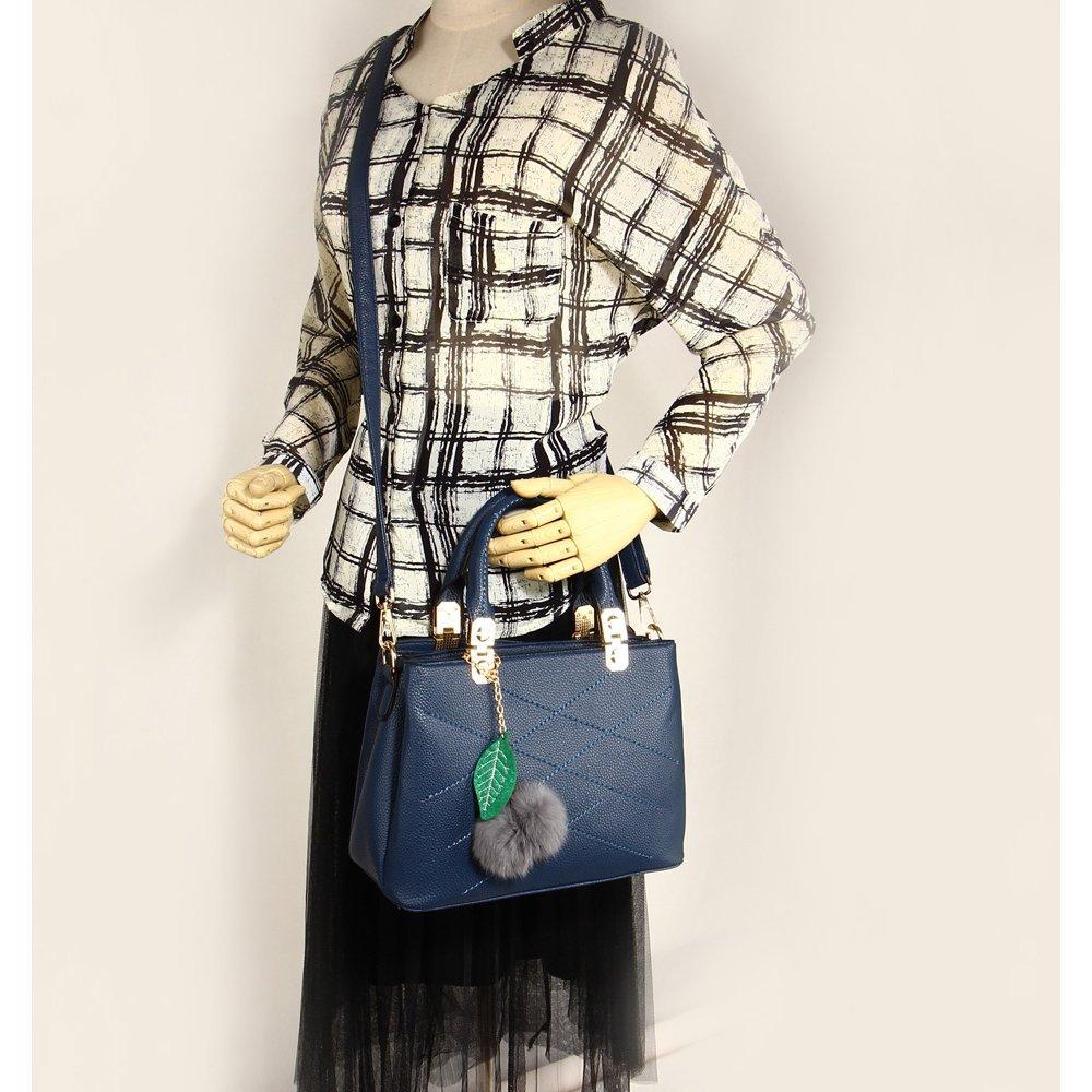 dd5a37e30807 ... LnB Ladies Fashion Navy Tote Shoulder Bag With Faux-Fur Charm -  AG00537-S ...