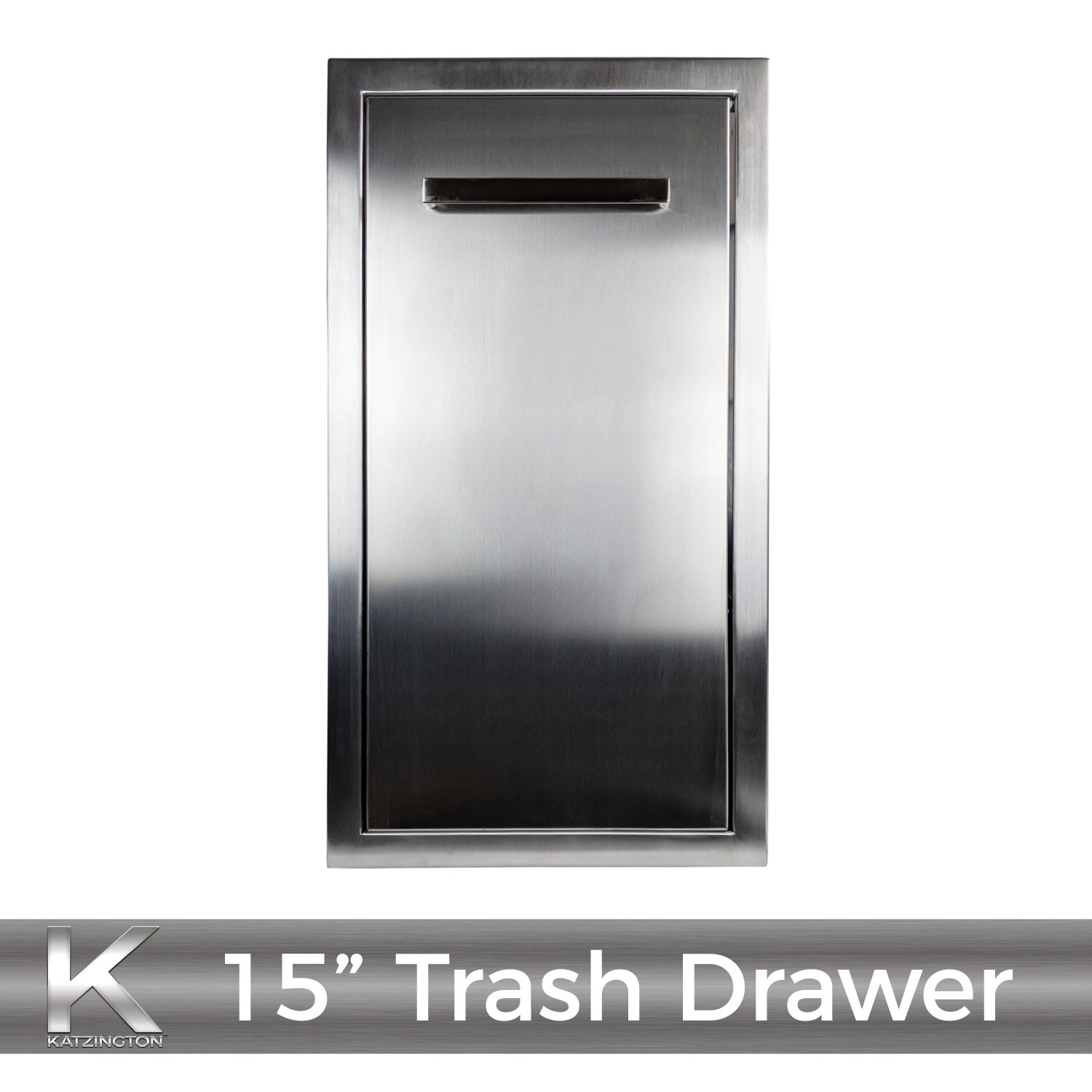Katzington BBQ ISLAND TRASH DRAWER - Modern Style - 15'' Trash Drawer - 304 Grade Stainless Steel - Double Walled Construction - Barbecue Island/Outdoor Kitchen Access Door - Soft Close Drawer Glides by Katzington (Image #8)