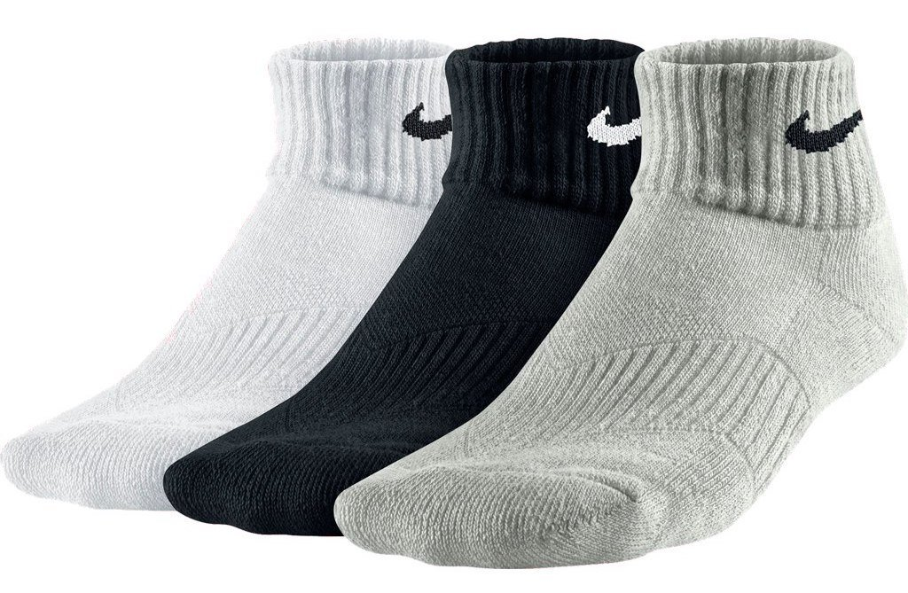 Nike One-Quarter Socks 3P Yth CTN Cush QTR W Moist M, Unisex, One-Quarter Socks 3P Yth CTN Cush Qtr W Moist M, S SX4722-967