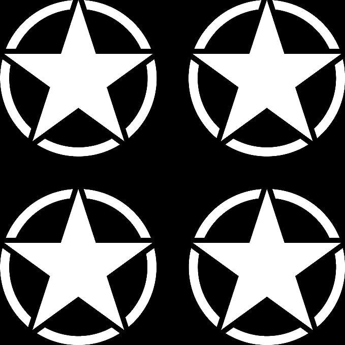 Greenit 4 Stück Us Sterne 5cm Weiß Usa Us Army Schriftzug Mp Auto Jeep Tuning Aufkleber Tattoo Die Cut Deko Folie Auto