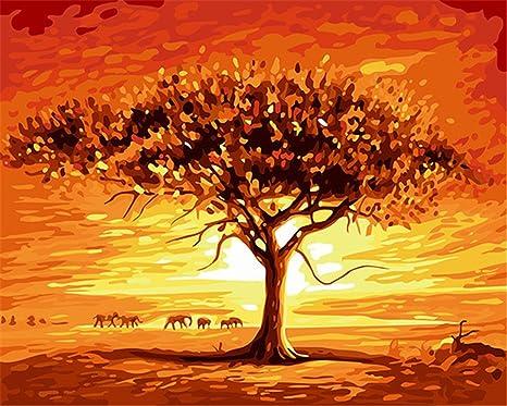 Captaincrafts New Malen Nach Zahlen 16x20 Für Erwachsene Kinder Leinwand Asaka Leben Schöne Sonnenuntergang Bäume Mit Rahmen