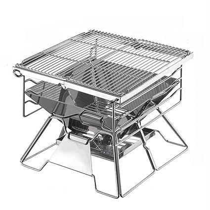 ZZ-aini Portátil Acero Inoxidable Barbacoa de Carbón Plegable, Camping Picnic Sobremesa Barbecue-