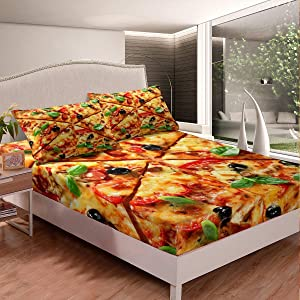 Erosebridal Pizza Bedding Set Deep Pocket, American Fast Food Fitted Sheet for Kids Boys Girls 3D Print Pizza Sheet Set Queen Size United States Breakfast Bottom Sheet 3 Pcs with 2 Pillow Cases