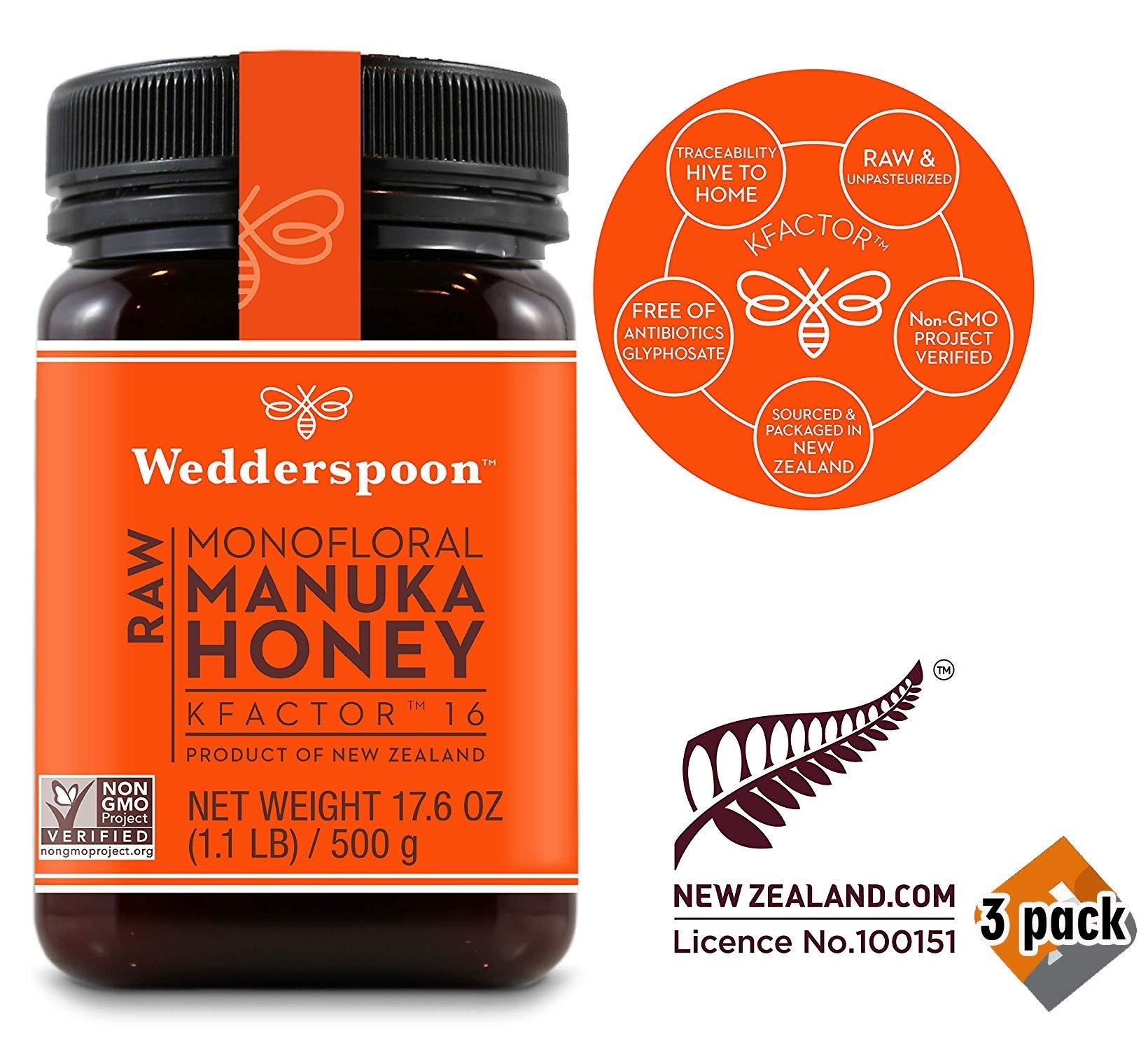 Wedderspoon Raw Premium Manuka Honey KFactor 16, 17.6 Oz, Unpasteurized, Genuine New Zealand Honey, Multi-Functional, Non-GMO Superfood, 3 Pack by Wedderspoon (Image #1)
