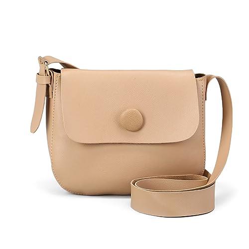 69c2a24e0a Beige Faux Leather Handbag Shoulder Bag Adjustable Strap Zipper Flap Top  Purse