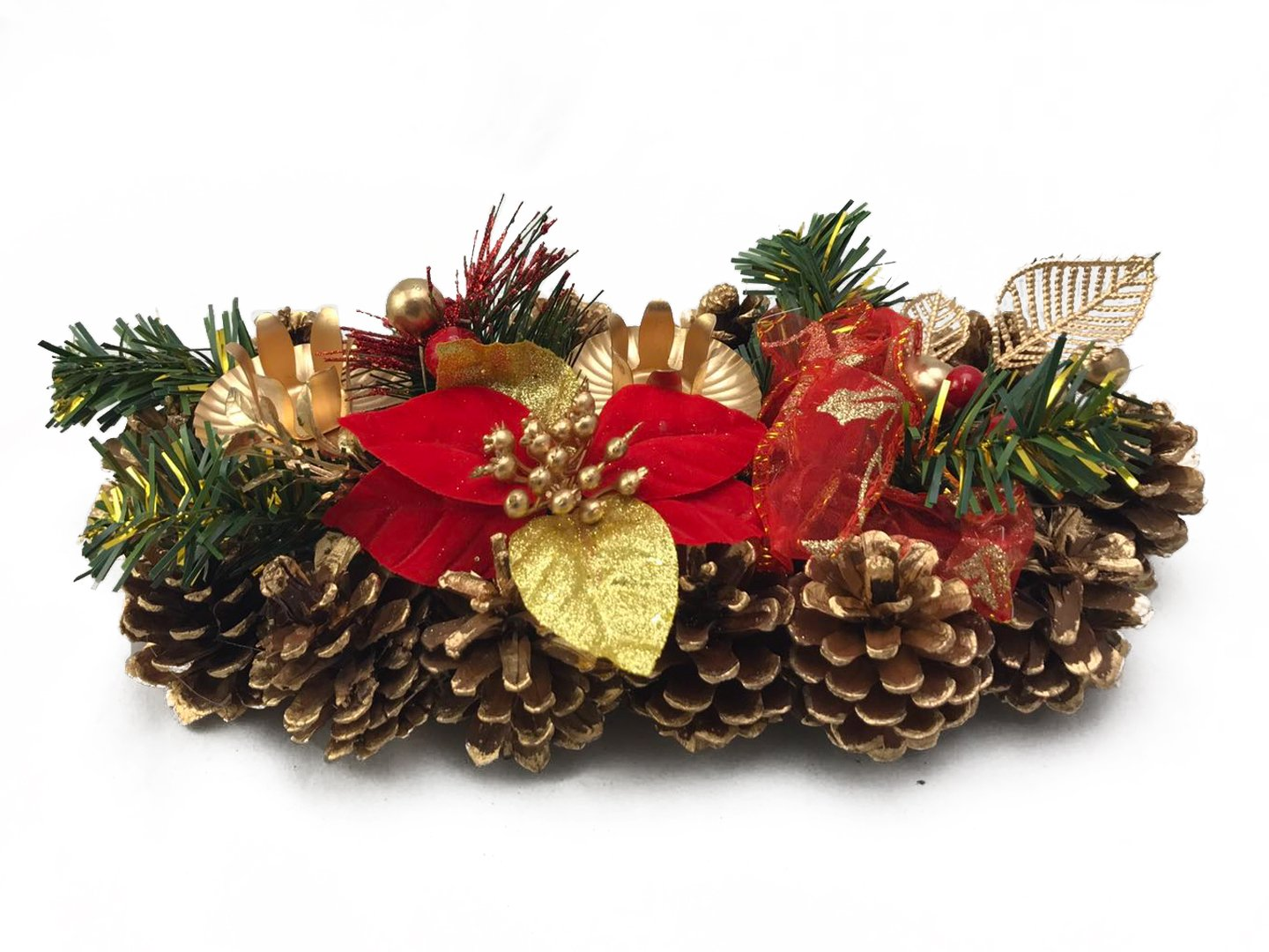 Christmas Candle Holder Poinsettia and Golden Pinecones for 2 Candles