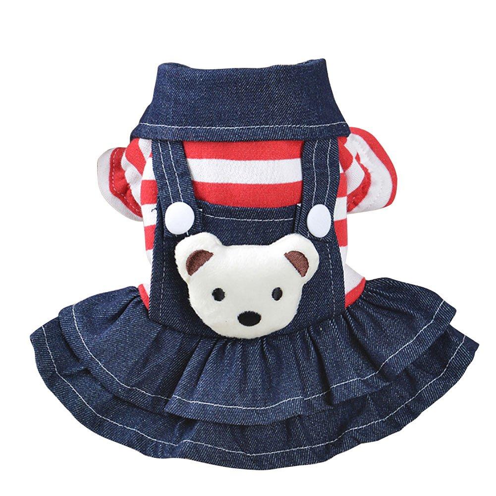 Patgoal Denim Dog Dress Striped Dog Bib Clothes for Pet Dog