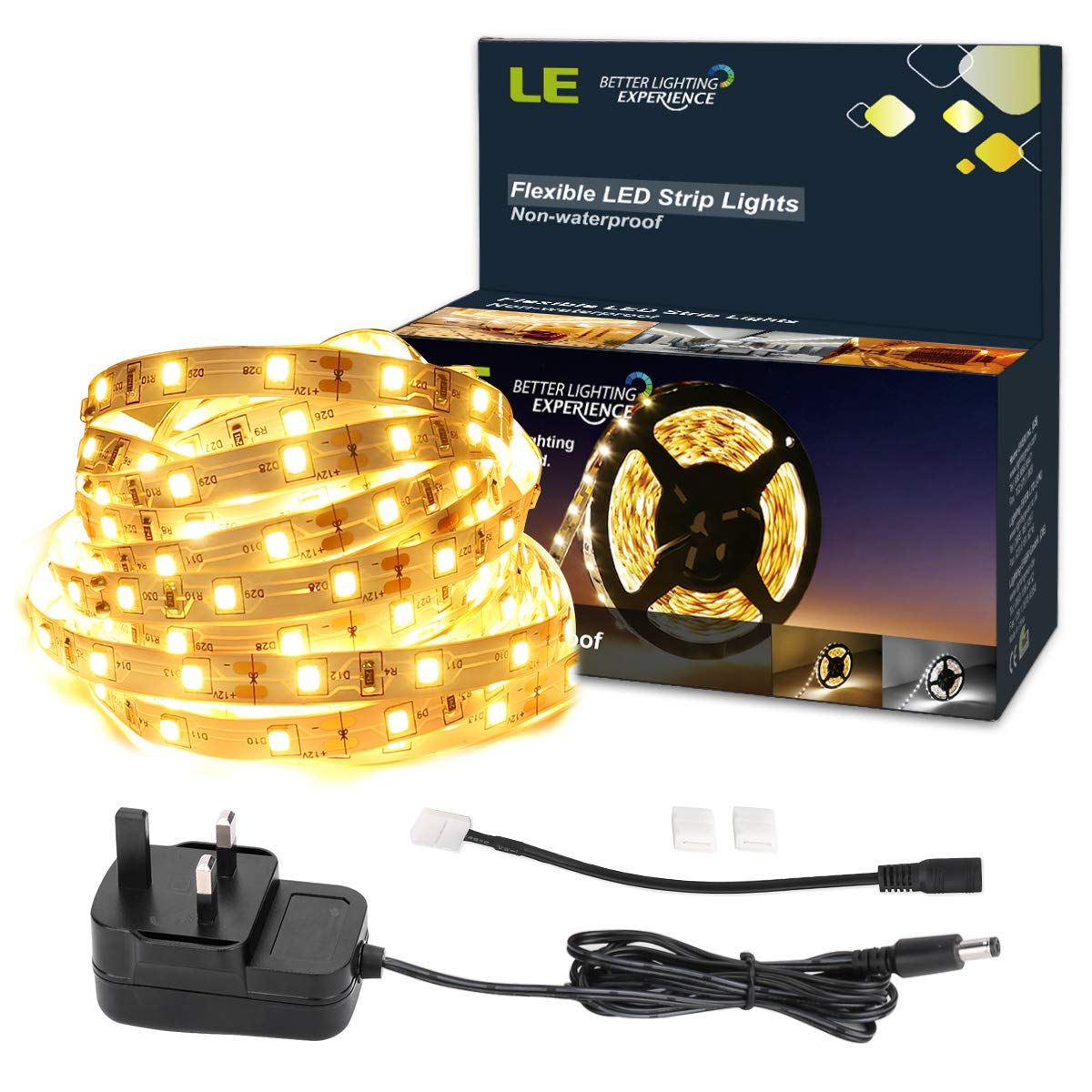 Le 5m Led Strip Lights Kit 300 Smd 2835 Leds Ribbon With Power Flexible Light Elements For On Wiring Strips To Battery Supply Non Waterproof Striplight Warm White Rope Lighting Self Adhesive Tape