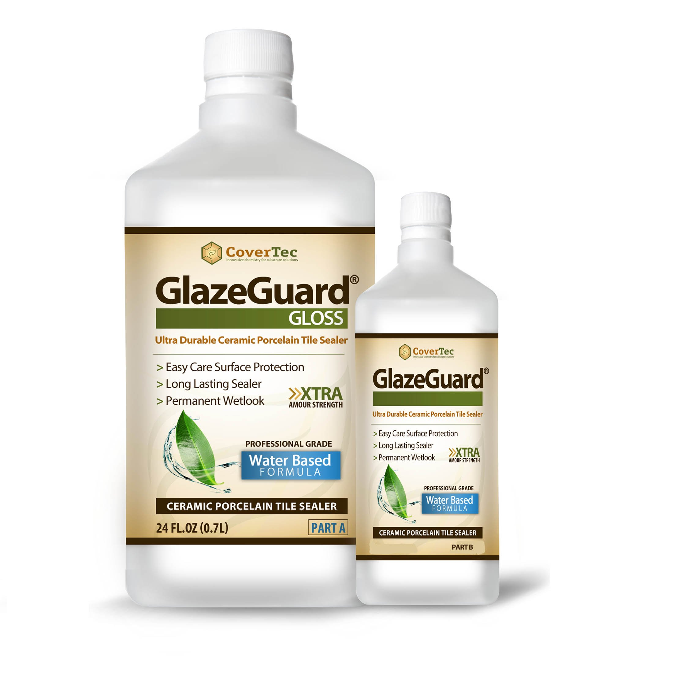GlazeGuard Gloss Floor/Wall Sealer for Ceramic, Porcelain, Stone Tile Surfaces - 1 Qrt (2) Part Kit