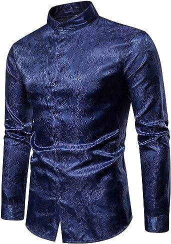 STTLZMC Paisley Camisa Hombre Manga Larga Slim Fit Color Sólido Cuello Abotonado Tops Blusa: Amazon.es: Ropa y accesorios