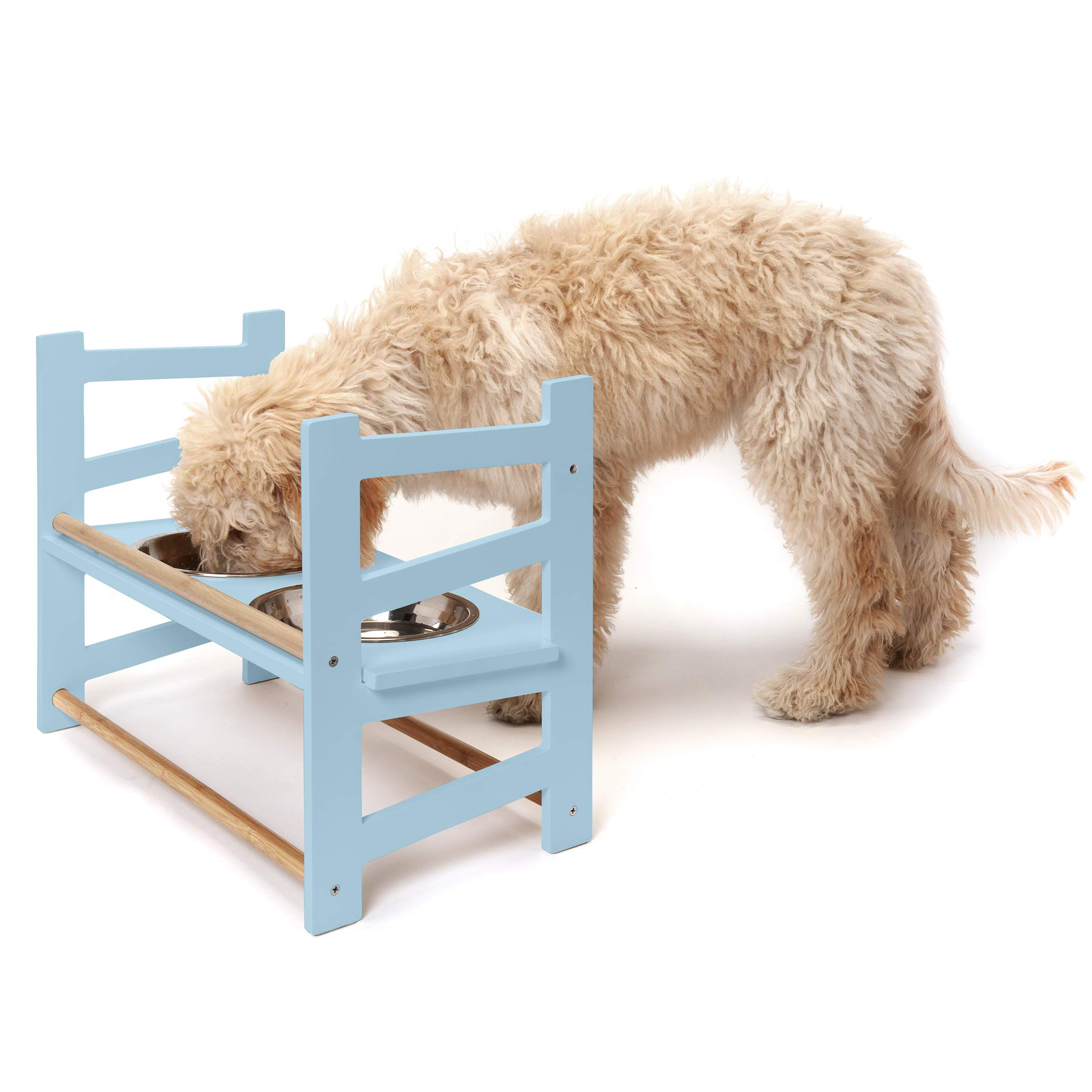 Furhaven Pet Feeder | Ladder Style Height Adjustable Raised Kitchen Pet Feeding Station w/ Stainless Steel Food Bowls for Dogs & Cats, Cloud Blue, Large by Furhaven