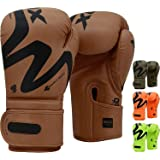 RDX Boxing Gloves for Training Muay Thai Maya Hide Leather Gloves for Sparring, Kickboxing, Fighting, Punch Bags, Double End