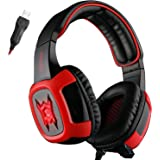 GT SADES SA906 Professional 7.1 Surround Sound Stereo USB PC Gaming Over Ear Headphone Headband Headset with Microphone Vibration&Volume Control&Noise Canceling&LED Lighting(black/red)