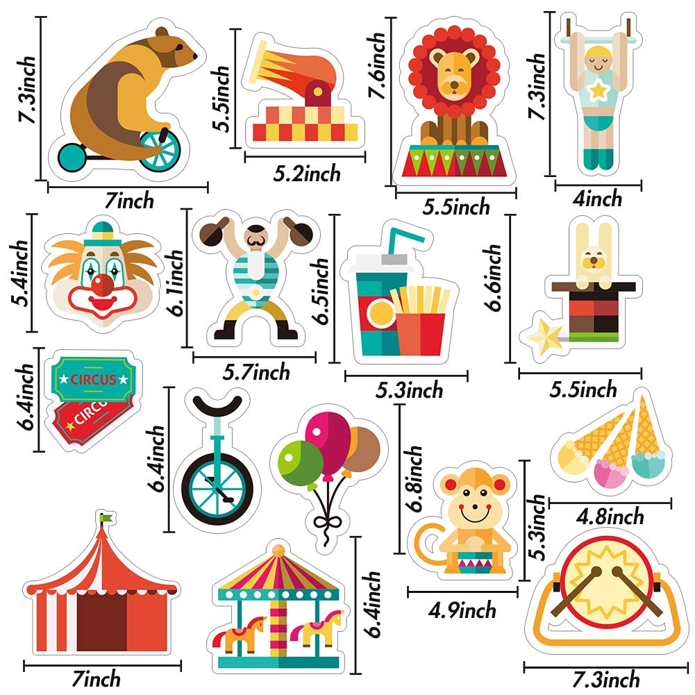 LovesTown 16PCS Carnival Cutouts, Different patterns Circus Theme Carnival Decorations Party Favors Animals Clown Performers Colorful Print Design Decoration