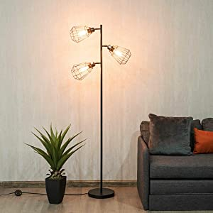 Modern 3-Light Tree Floor Lamp Adjustable Cage-shade with Foot Switch Room Décor