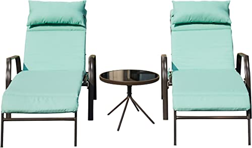 LOKATSE HOME 3 Pieces Outdoor Patio Chaise Lounge Chair Lounger Seating Furniture Set with Cushions and Table, Light Blue