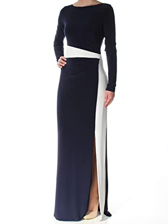 36c15750ccffb Ralph Lauren Womens Navy Slitted Color Block Long Sleeve Boat Neck Full- Length Sheath Formal Dress Size: 2: Amazon.co.uk: Clothing