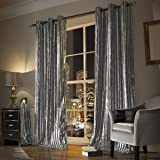 Lined Eyelet Ring Curtains Silver Grey Teal 66x72 Amazon
