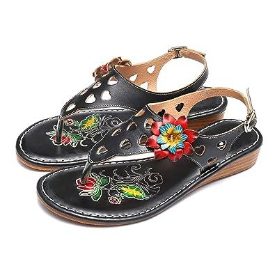 1a9dd8786a245 gracosy Women s Summer Flip Flops Sandals Ladies Wedge Heel Clip Toe Sandals  Boho Beach Shoes Handmade