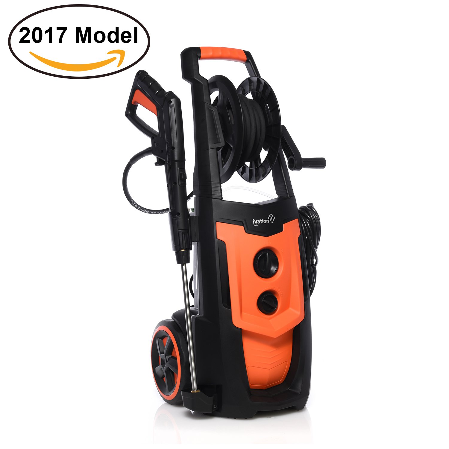 Ivation Electric Pressure Washer 2200 PSI 1.8 GPM with Power Hose, 5 Interchangeable Nozzles for Gun Wand, With Removable Soap Dispenser