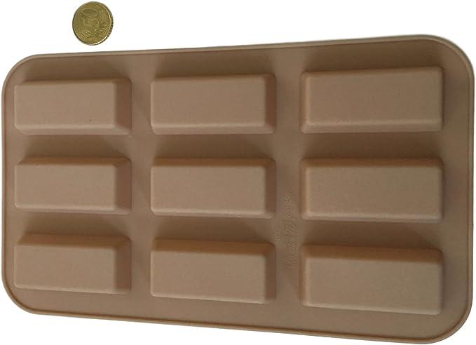 9 barritas rectangulares alargadas para bombones de silicona, molde para chocolate, cubitos de hielo, bombones, bombones, caramelos, barritas de ...
